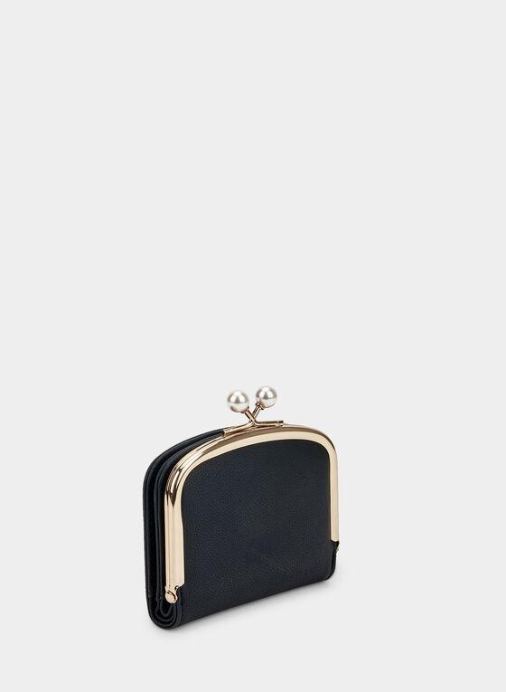 Porte-monnaie à détails perles , Noir