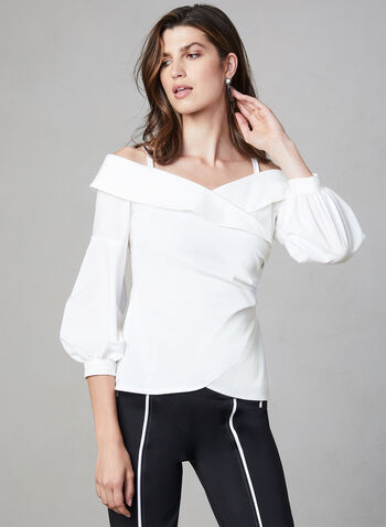 Joseph Ribkoff - Off-the-Shoulder Blouse, White, hi-res,  long sleeves, balloon sleeves,