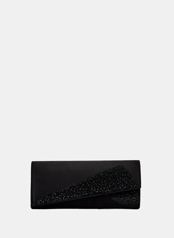 Crystal & Satin Clutch, Black, hi-res