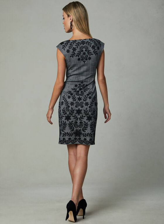 Maggy London - Floral & Plaid Print Dress, Black, hi-res