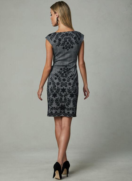 Maggy London - Robe à motif fleurs et carreaux, Noir, hi-res