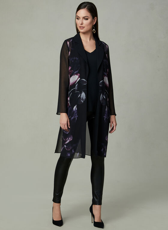 Floral Print Duster Blouse, Black, hi-res