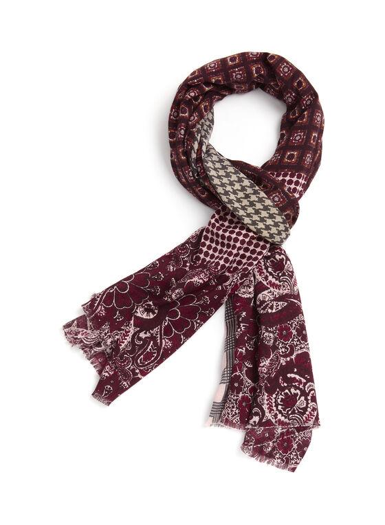 Foulard léger oblong en patchwork, Rose, hi-res
