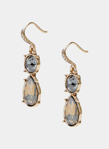 Teardrop Dangle Earrings, Grey, hi-res