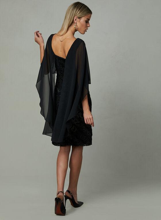 Frank Lyman - Embossed Poncho Dress, Black, hi-res
