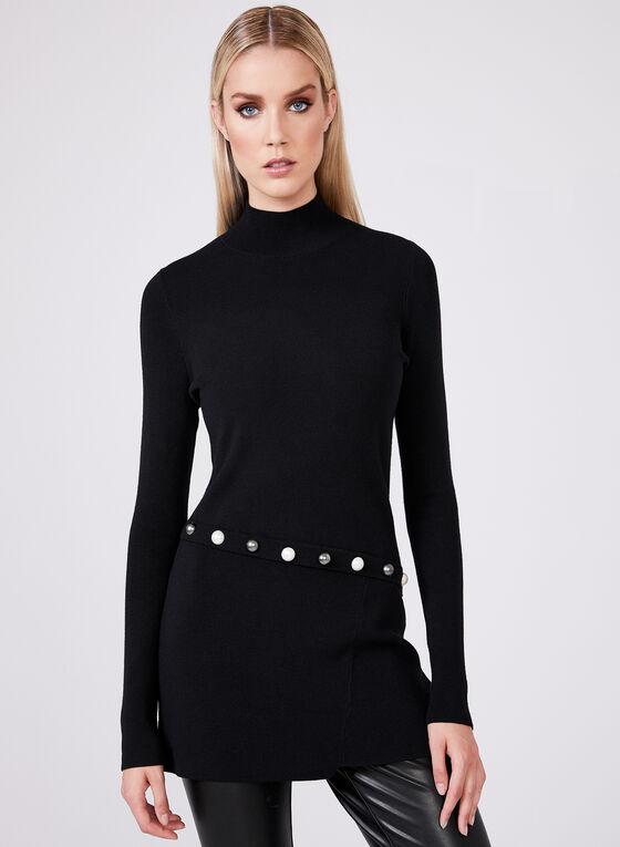 Beaded Detail Knit Sweater, Black, hi-res