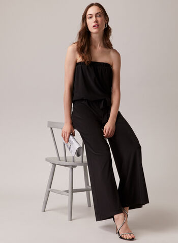 Compli K - Strapless Wide Leg Jumpsuit, Black,  jumpsuit, strapless, sleeveless, wide leg, belt, spring summer 2020