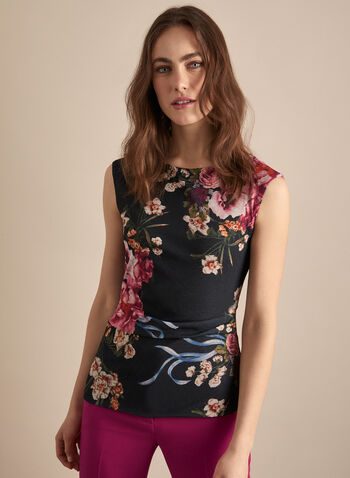 Sleeveless Floral Print Top, Black,  canada, floral print, florals, floral print top, top, sleeveless, flower print, spring top, spring 2020, summer 2020