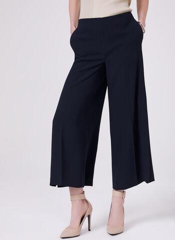 Slit Leg Crepe Culottes, Blue, hi-res
