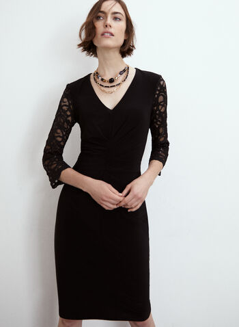 Joseph Ribkoff - Lace Sleeve Dress, Black,  made in Canada, dress, occasion dress, Joseph Ribkoff, Frank  Lyman, v neck, 3/4 sleeves, lace, ruched, fitted, satin, fall winter 2021