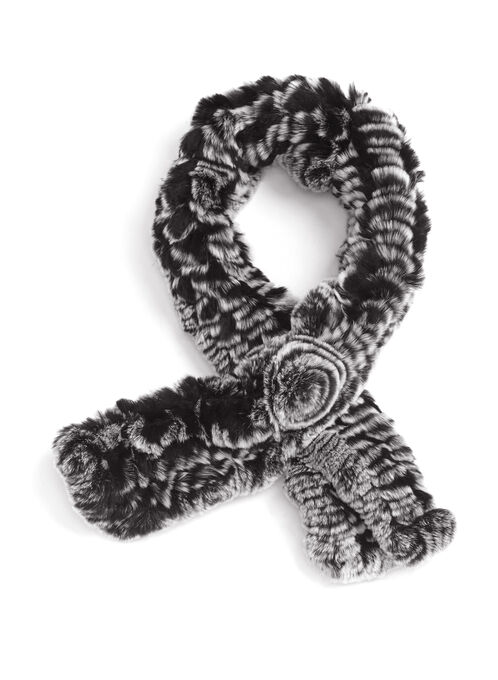Rabbit Fur Scarf, Black, hi-res