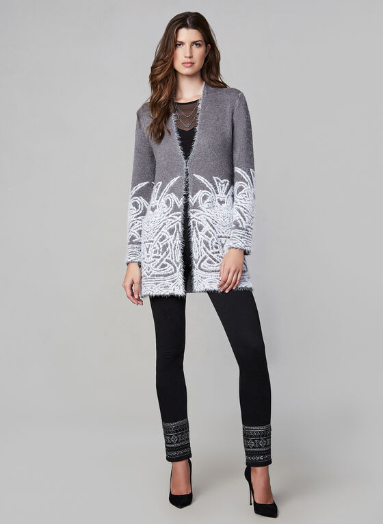 Eyelash Open Front Cardigan , Grey