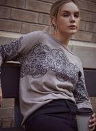 Lace Print Sweater, Beige