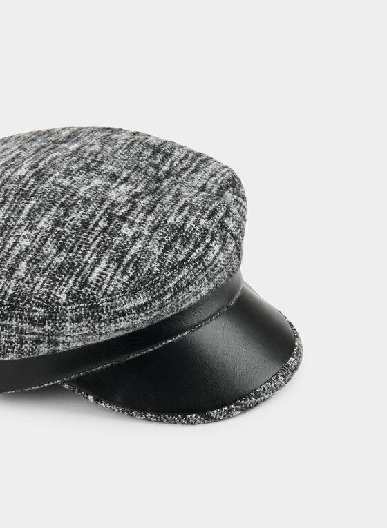 Knit & Faux Leather Cap, Black