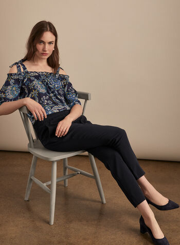 Floral Off-the-Shoulder Blouse, Blue,  blouse, floral print, bardot, elbow sleeves, crepe fabric, spring summer 2020