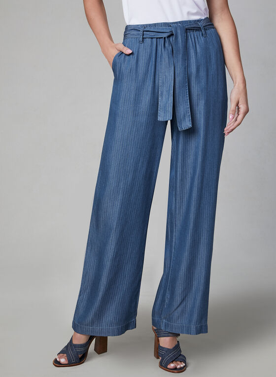Linea Domani - Belted Wide Leg Pants, Blue, hi-res