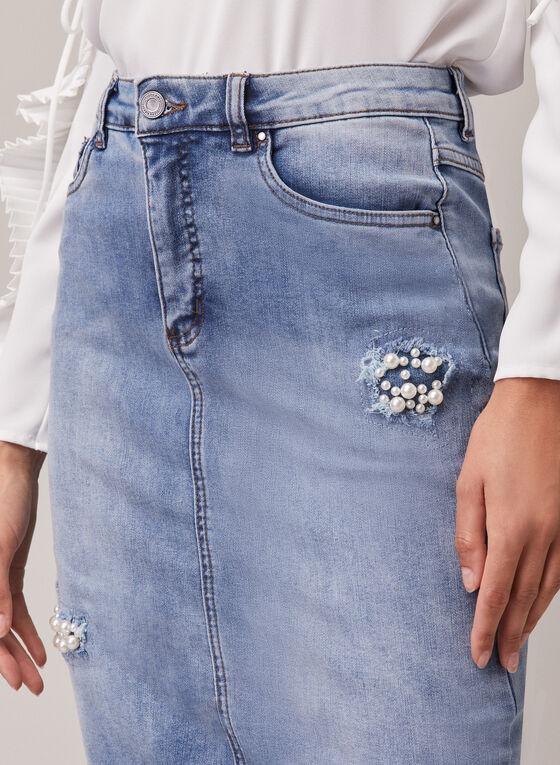 Joseph Ribkoff - Pearl Detail Denim Skirt, Blue