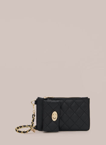 Quilted Cellphone Bag, Black,  fall winter 2020, bag, quilted, cellphone, metallic, chain