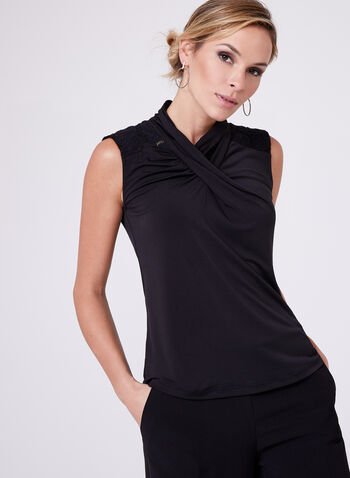 Drape Neck Jersey Top , , hi-res