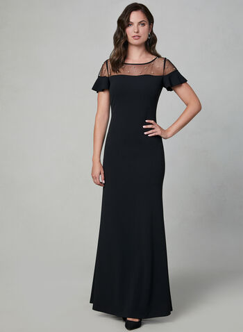 Karl Lagerfeld Paris - Illusion Neck Gown, Black, hi-res