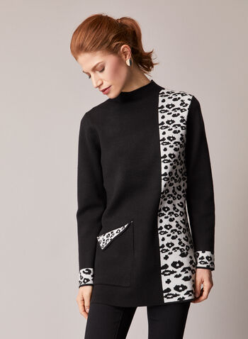 Elena Wang - Leopard Print Knit Tunic, Black,  fall winter 2020, tunic, top, animal print, long sleeves, mock neck, holiday, holiday 2020, gift