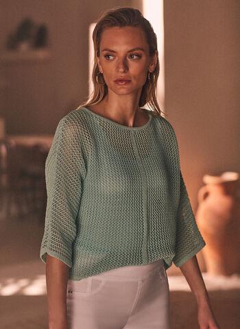 Open Weave Knit Sweater, Green,  sweater, knit, boat neck, 3/4 sleeves, open knit, spring summer 2021