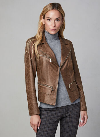 Vex - Faux Leather Jacket, Brown,  jacket, blazer, long sleeves, fall winter 2019, faux leather