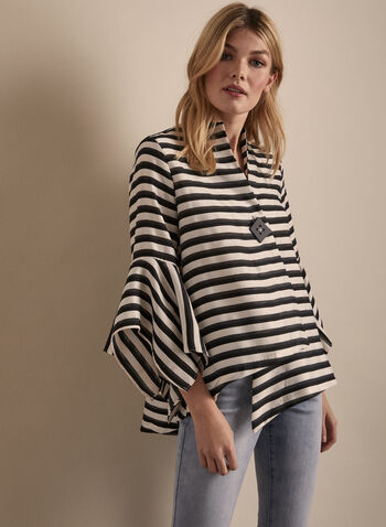 Joseph Ribkoff - Striped Single-Button Jacket, Black,  jacket, striped, flared sleeves, button, 3/4 sleeves, asymmetric, high low, spring summer 2020