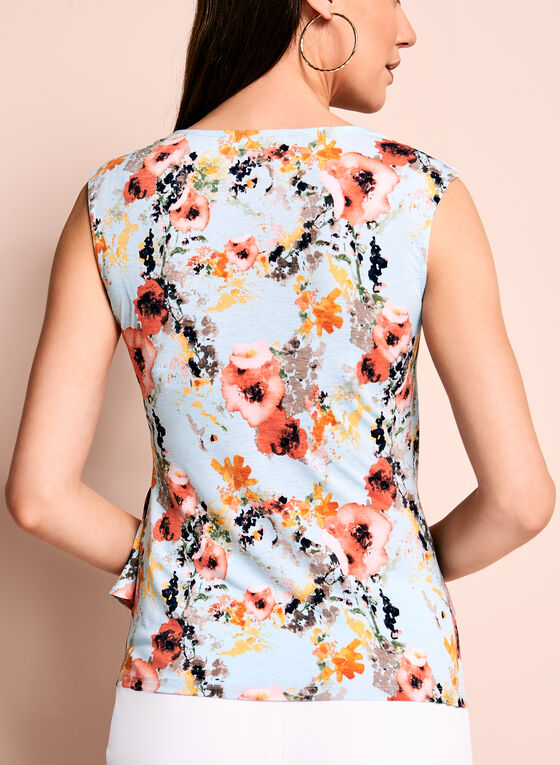 Floral Print Side Drape Top, Blue, hi-res