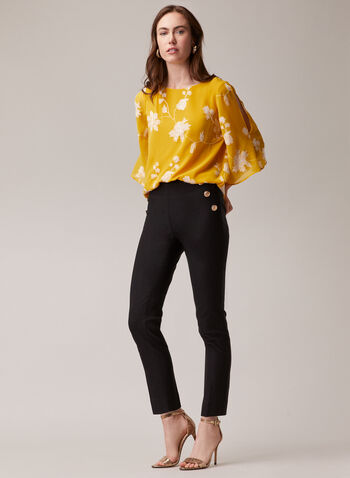 Pull-On Slim Leg Pants, Black,  pants, pull-on, slim leg, bengaline, button detail, spring summer 2020