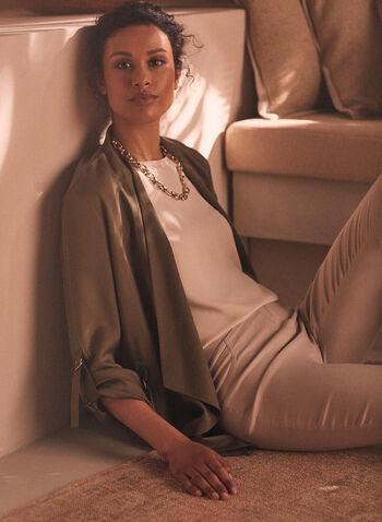 Open Front Tencel Blazer, Green,  blazer, open front, tencel, gathered sleeves, adjustable, elastic, spring summer 2020