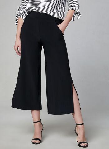 Pantalon à jambe large fendue, Noir, hi-res,  printemps 2019, jupe-culotte, jersey, pull-on
