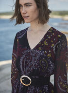 Paisley Print Long Sleeve Dress, Black