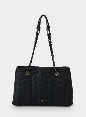 Quilted Tote Bag, Black,  fall winter 2019, quilted, tote