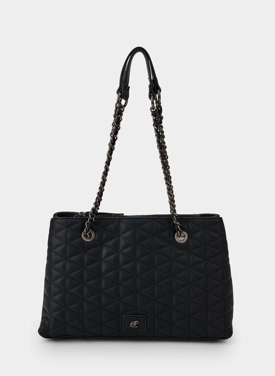 Quilted Tote Bag, Black