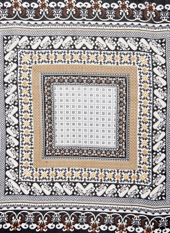 Mosaic Print Square Scarf, Off White, hi-res