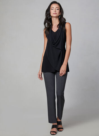 Sleeveless Cowl Neck Top, Black, hi-res