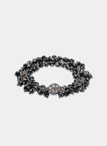 Faceted Crystal Bracelet, Black, hi-res