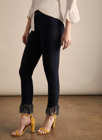 Joseph Ribkoff - Slim Leg Fringe Hem Jeans, Blue,  jeans, denim, fringes, slim leg, cropped jeans, cropped pants, Joseph Ribkoff, spring 2020, summer 2020