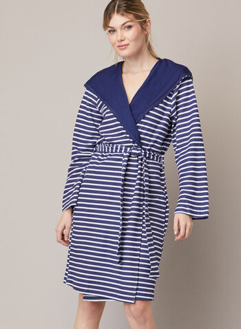Stripe Print Robe, Blue,  fall winter 2020, robe, stripe print, hood, belt, sleepwear