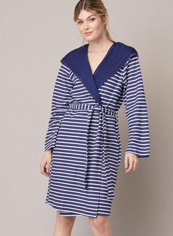 Peignoir à motif de rayures, Bleu,  automne hiver 2020, peignoir, robe de chambre, pyjama