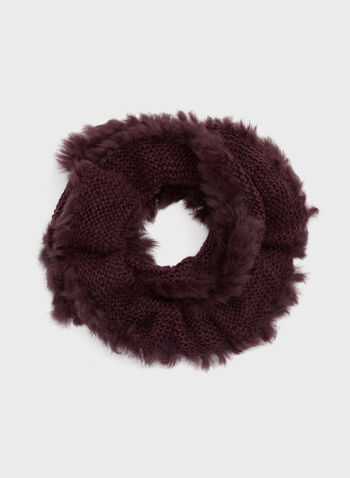 Fur Trim Knit Tube Scarf, Red, hi-res
