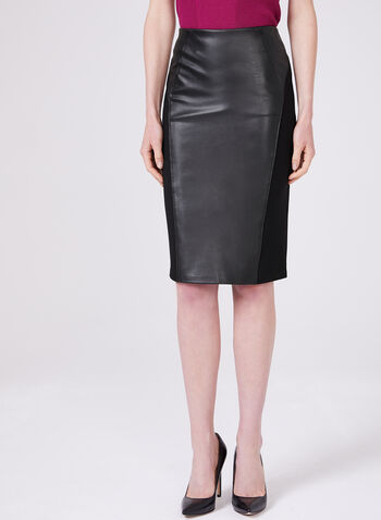 Ponte de Roma Faux Leather Skirt, Black, hi-res