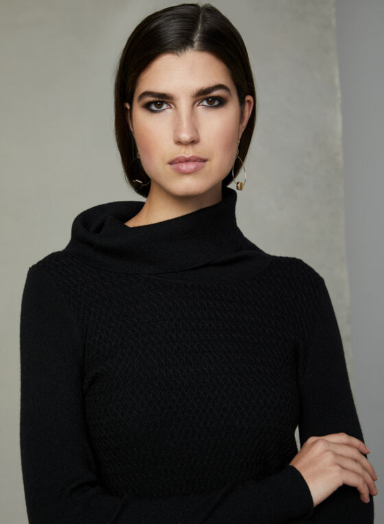Pull tunique texturé à col roulé, Noir