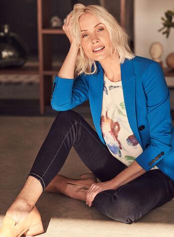 Notch Collar Topstitch Detail Blazer, Blue,  jacket, blazer, notch collar, topstitch, buttons, flap pockets, long sleeves, spring summer 2021