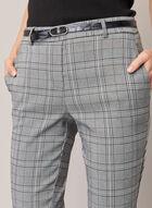 Pantalon ceinturé à carreaux, Noir