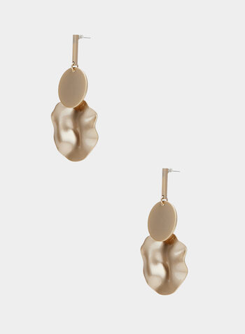 Disc Earrings, Gold,  earrings, disc, matte, hammered, metallic, spring summer 2020