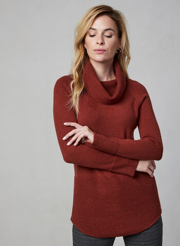 Cowl Neck Sweater, Red,  fall winter 2019, knit, cowl neck, long sleeves, waffle knit