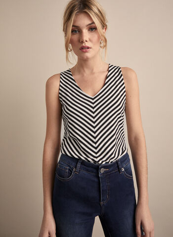 Mitred Stripe Top, White,  top, sleeveless, striped, spring 2020
