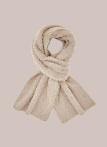 Fuzzy Acrylic Scarf, Off White,  scarf, acrylic, fall winter 2020